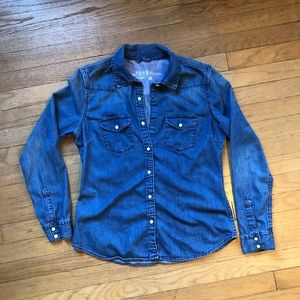 Gap 1969 Denim Chambray Shirt Size M Snaps Pockets